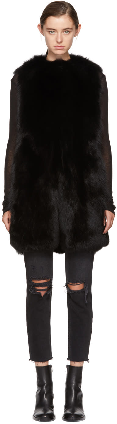 Image of Meteo By Yves Salomon Black Fur Vest