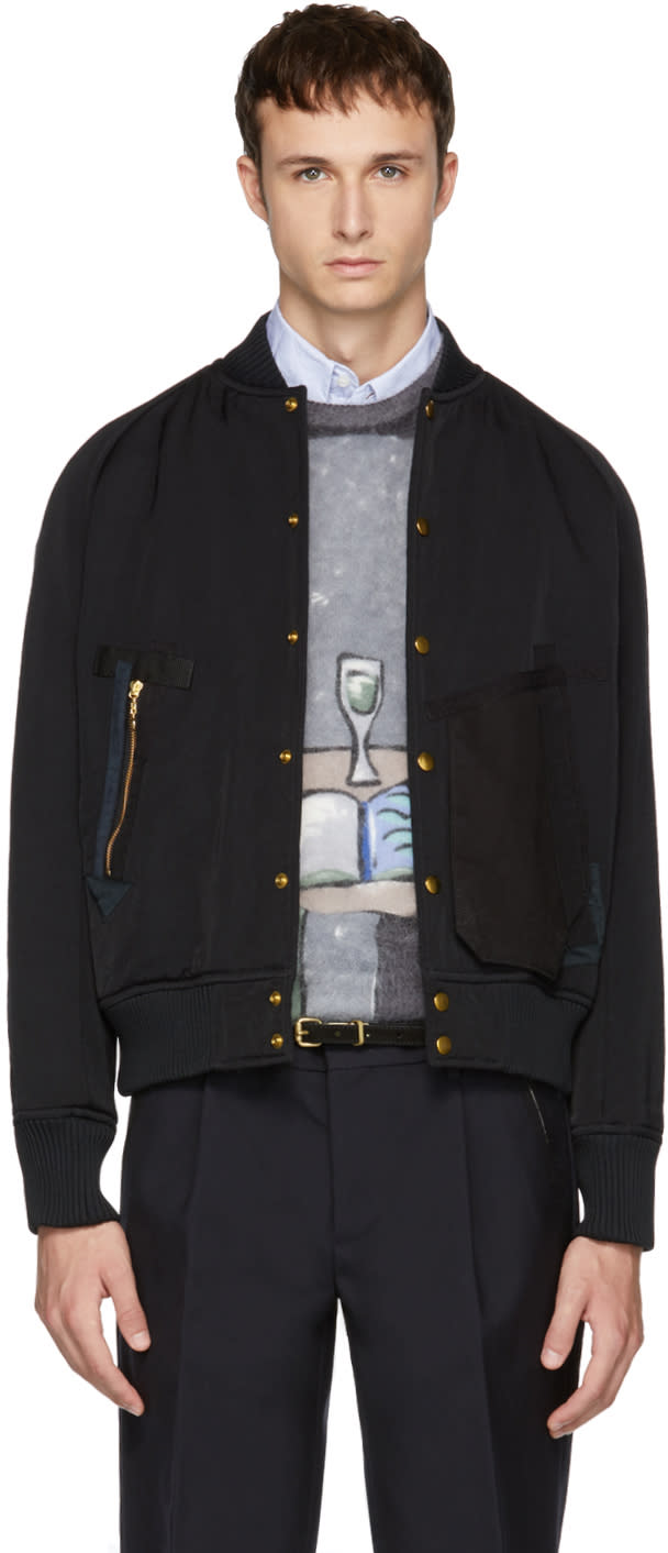 Image of Kolor Black Detailed Pockets Bomber Jacket