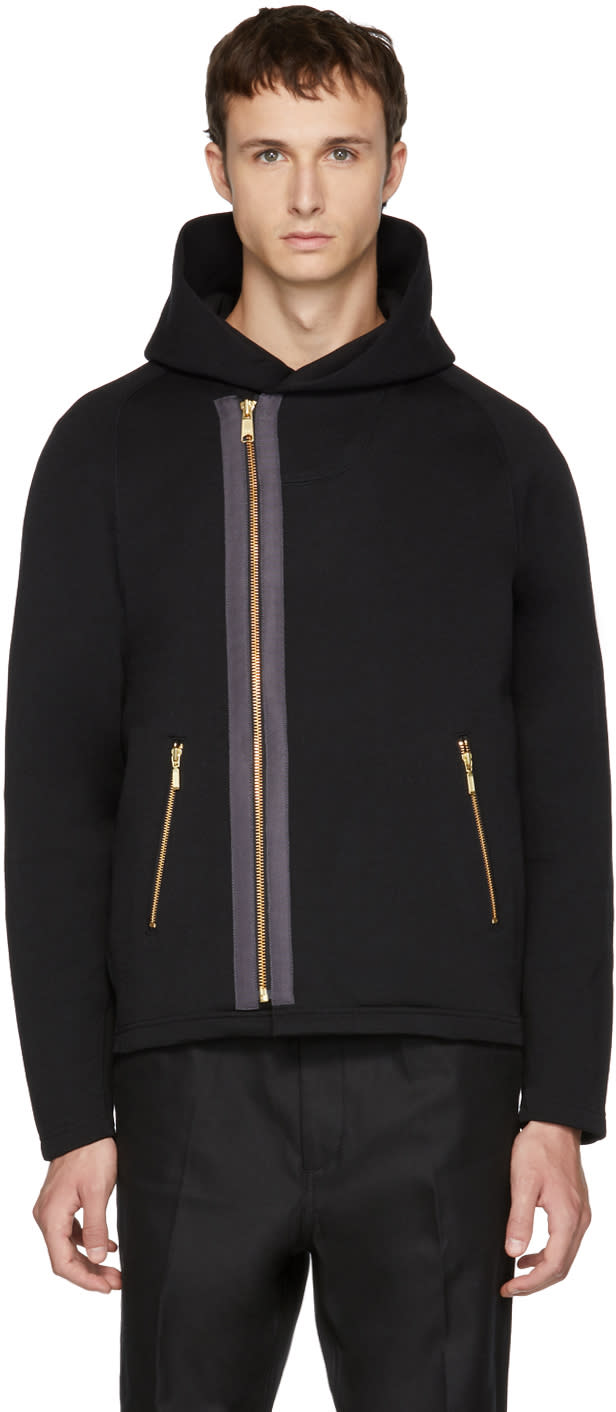 Image of Kolor Black Puffy Hooded Jacket