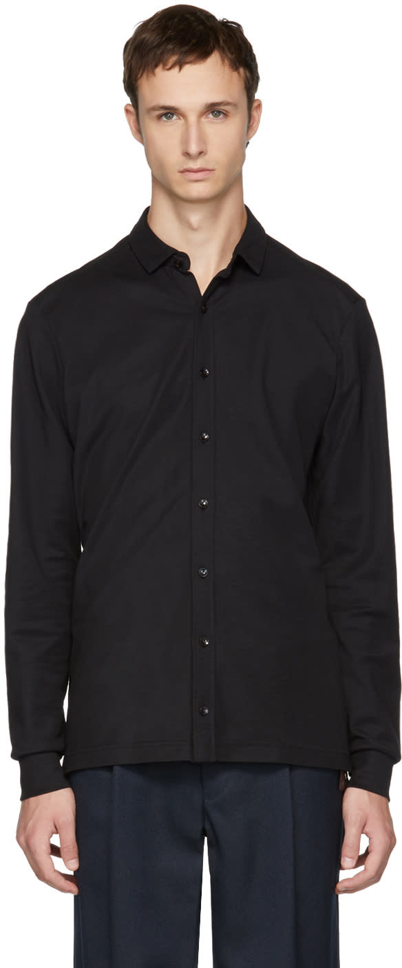 Image of Kolor Black Jersey Button-up Shirt