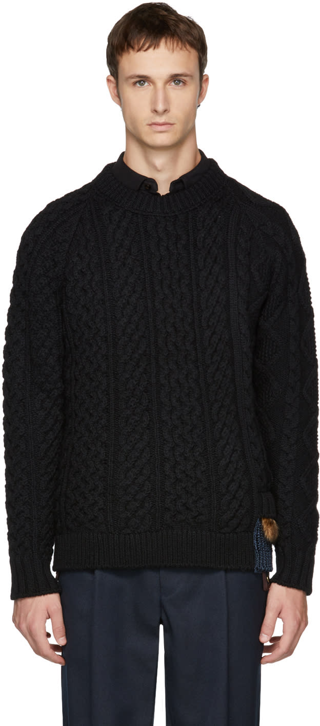Image of Kolor Black Cable Knit Wool Sweater