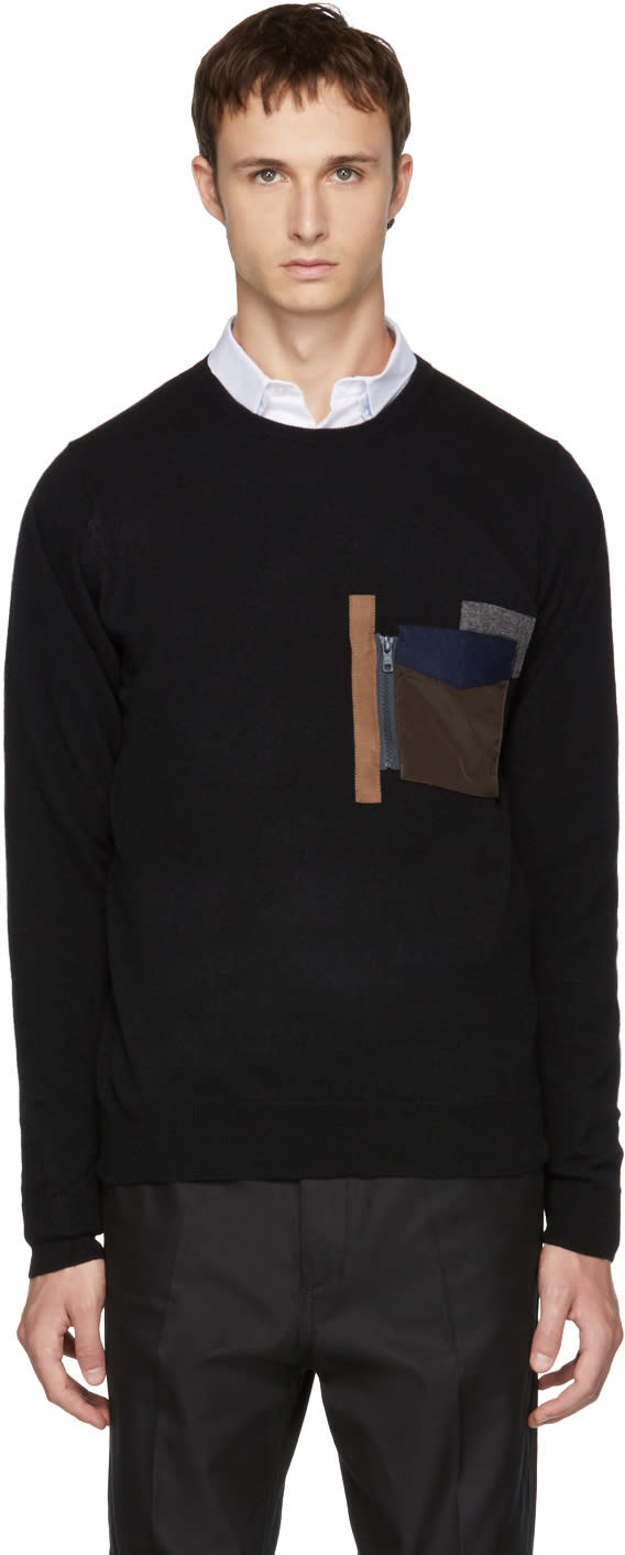 Image of Kolor Black Patchwork Pocket Sweater