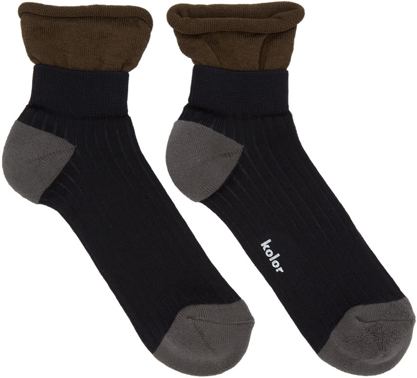 Image of Kolor Black Rib Socks