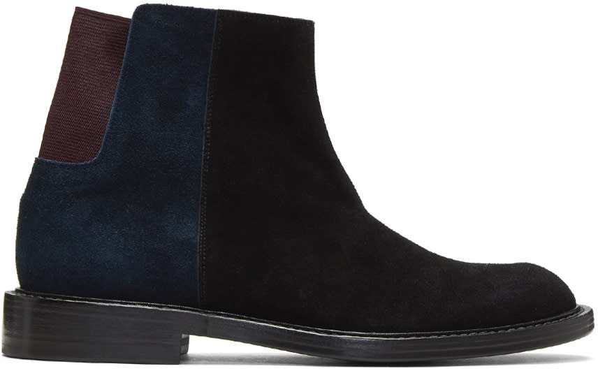 Image of Kolor Black Colorblock Chelsea Boots