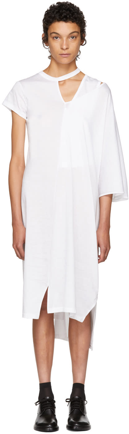 Image of Facetasm White Asymmetric Mantle T-shirt Dress