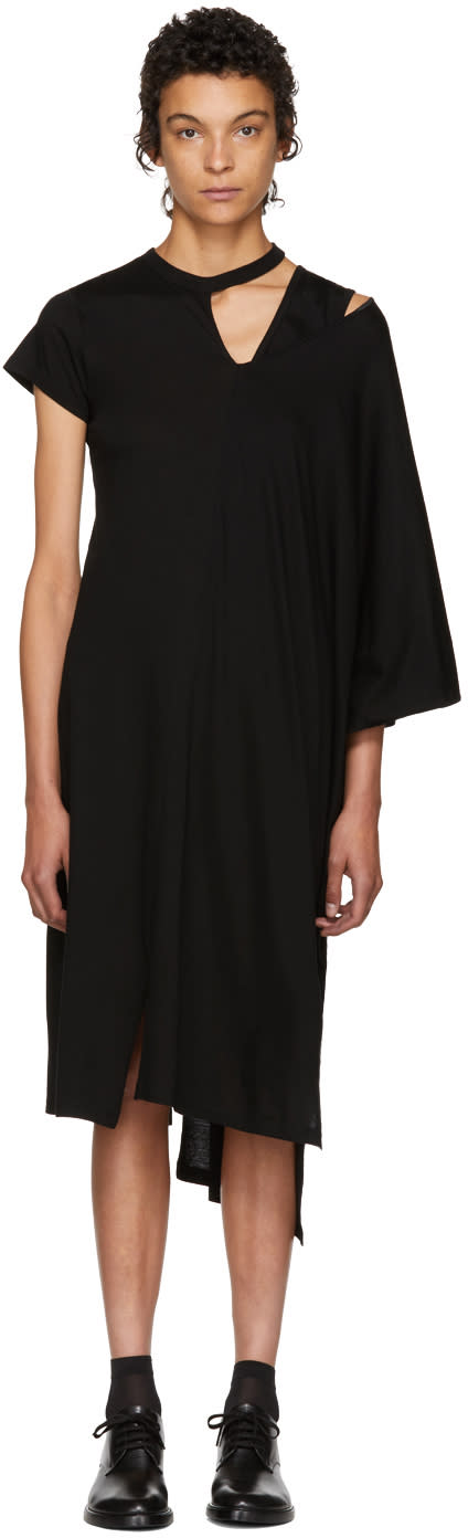 Image of Facetasm Black Asymmetric Mantle T-shirt Dress