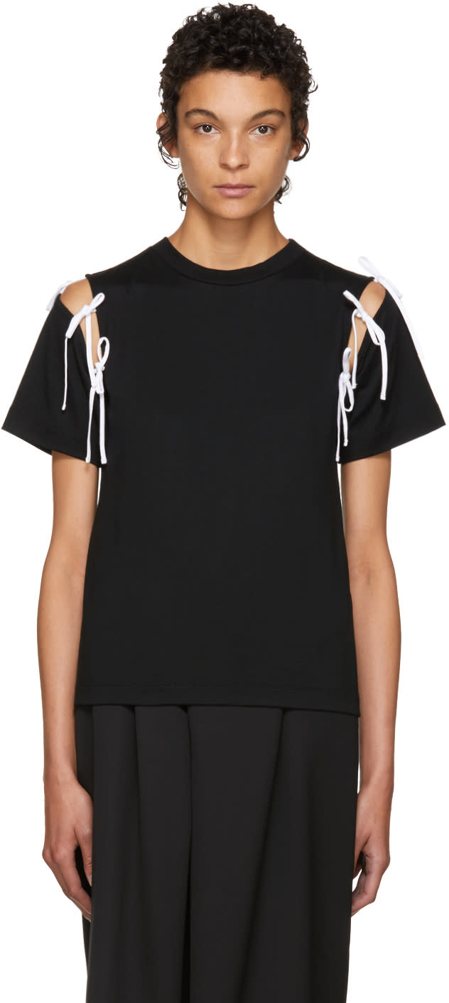 Image of Facetasm Ssense Exclusive Black Tie Shoulder T-shirt
