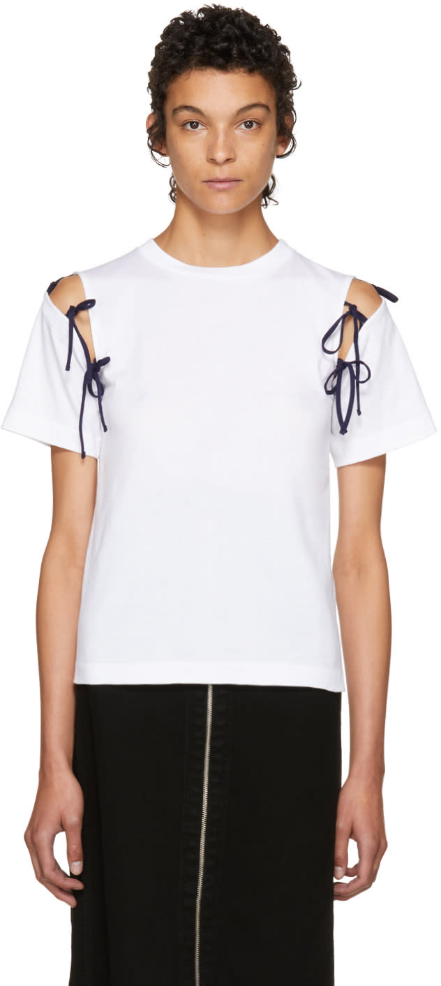 Image of Facetasm Ssense Exclusive White Tie Shoulder T-shirt