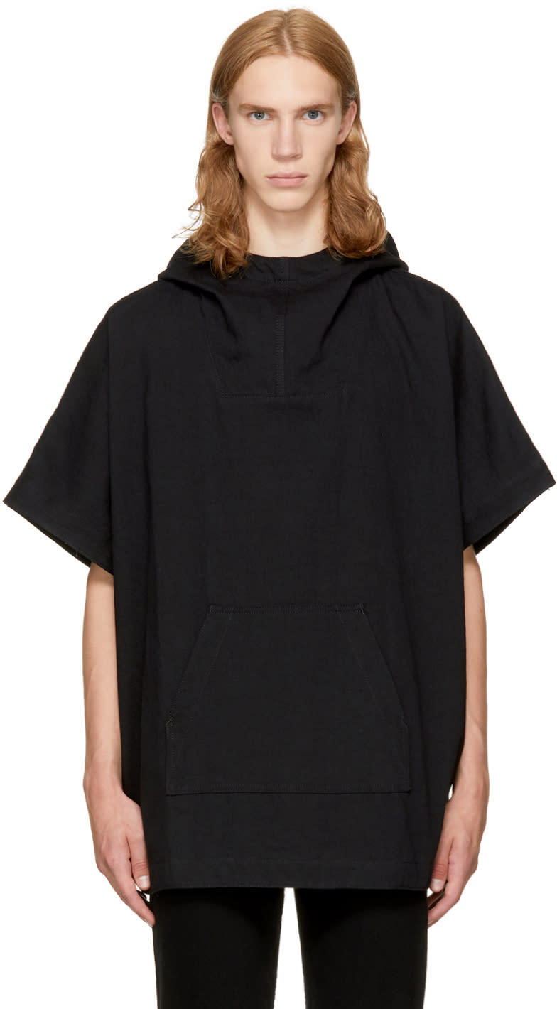 Image of Naked and Famous Denim Black Denim Poncho Hoodie