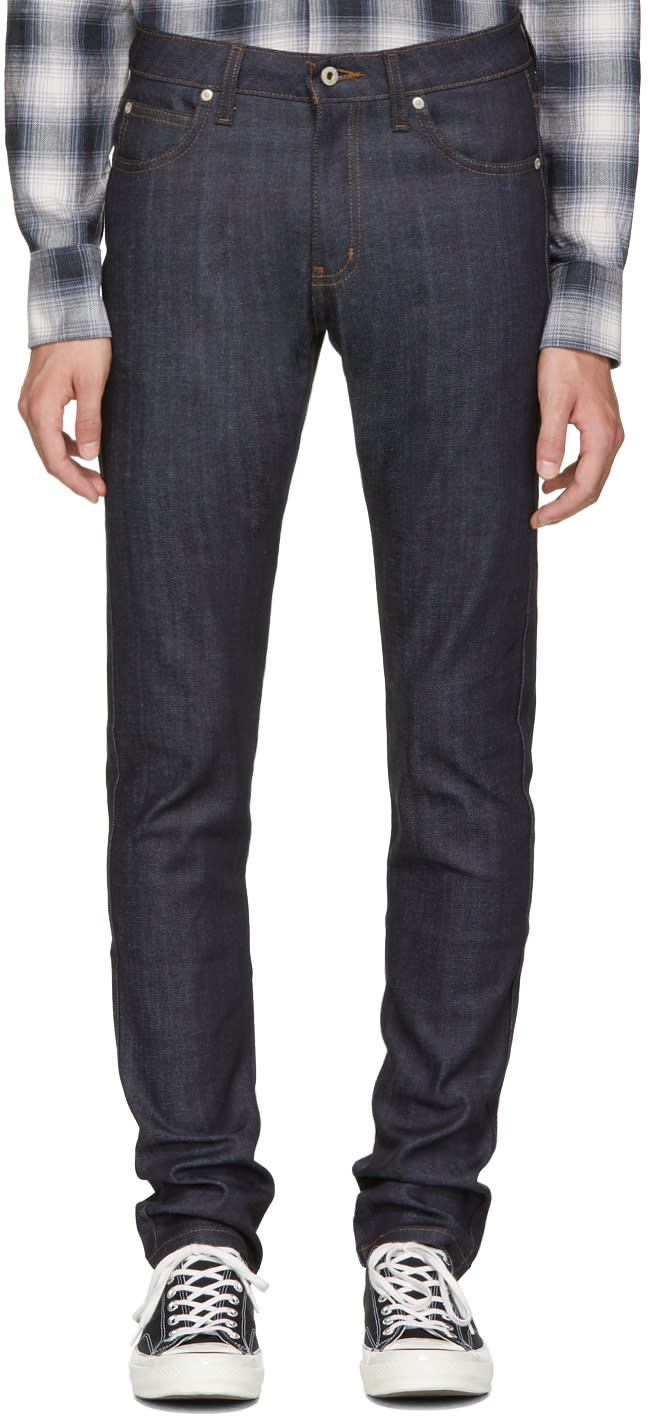 Image of Naked and Famous Denim Blue Cashmere Super Skinny Guy Jeans