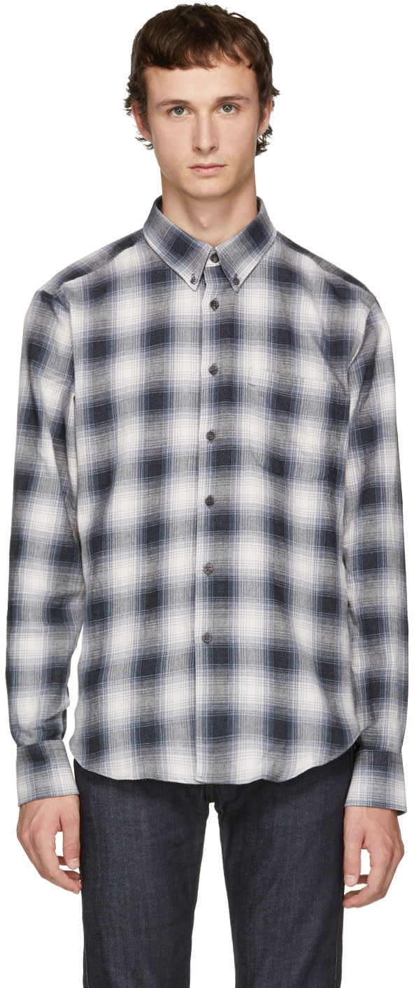 Image of Naked and Famous Denim Grey Ombré Flannel Shirt
