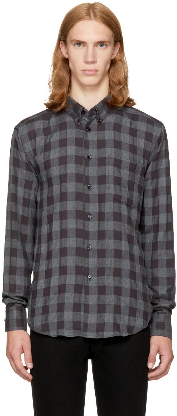 Image of Naked and Famous Denim Black Herringbone Check Shirt