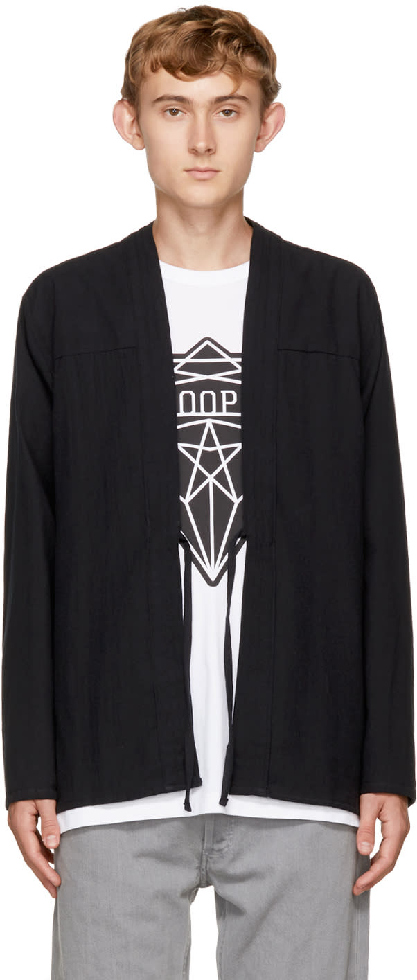 Image of Naked and Famous Denim Ssense Exclusive Black Broken Twill Kimono Shirt