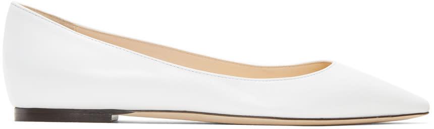 Jimmy Choo White Leather Romy Ballerina Flats