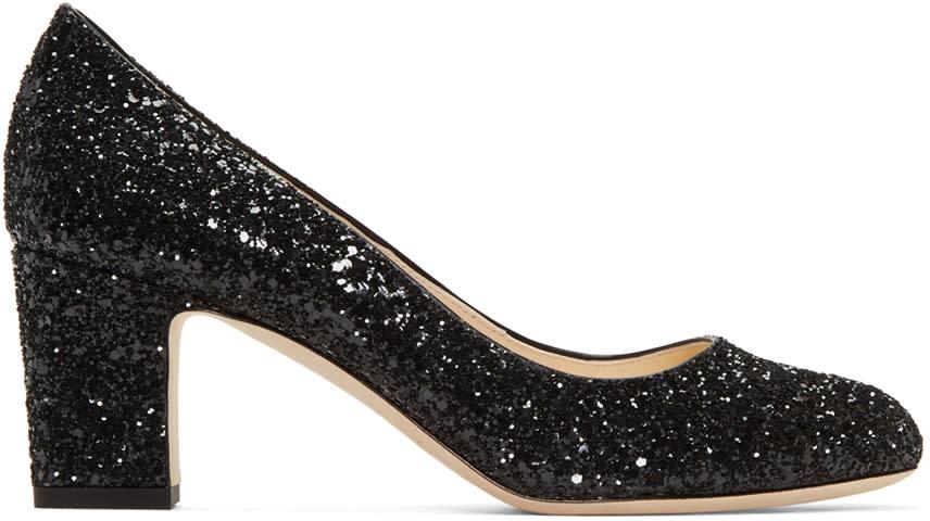 Jimmy Choo Black Glitter Billie Heels