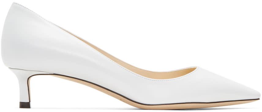 Jimmy Choo White Leather Romy Heels