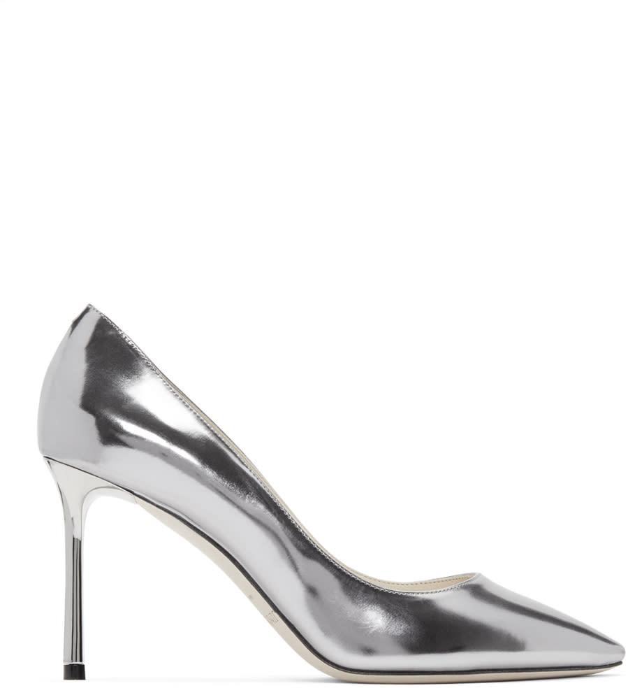 Jimmy Choo Silver Mirrored Romy Heels
