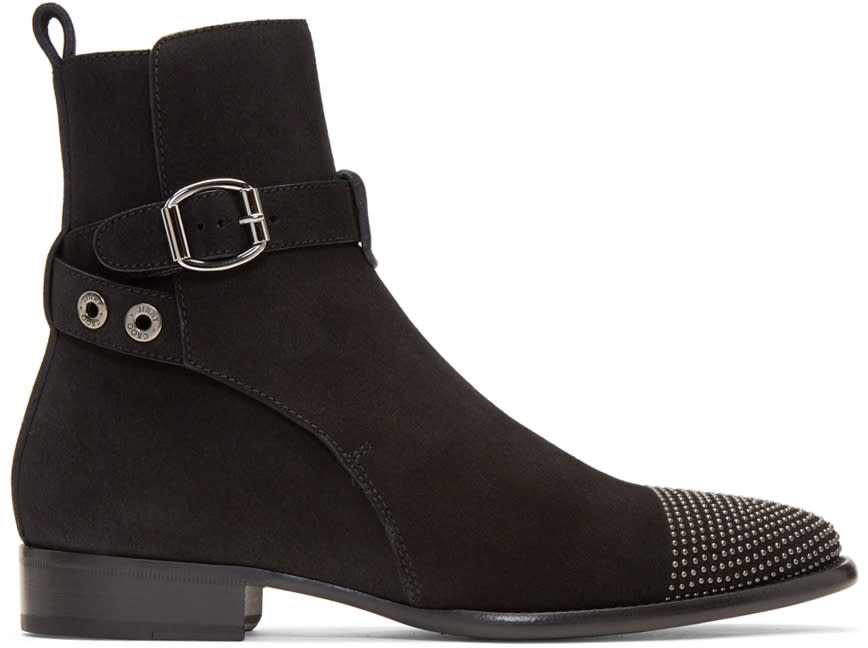 Jimmy Choo Black Suede Studded Holden Boots