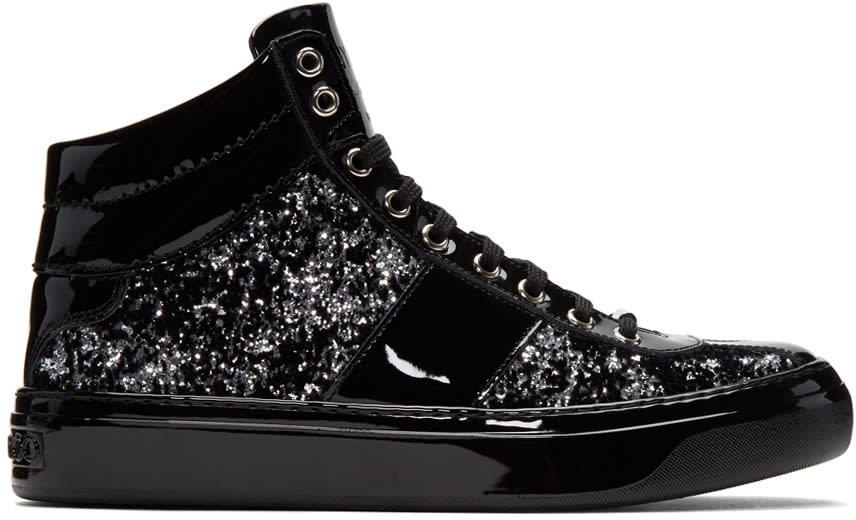 Image of Jimmy Choo Black and Silver Velvet Belgravia High-top Sneakers