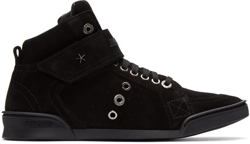 Jimmy Choo Black Suede Lewis High-top Sneakers