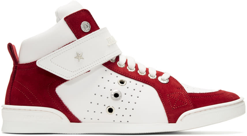 Jimmy Choo White and Red Lewis High-top Sneakers