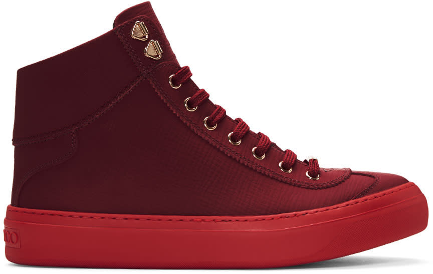 Jimmy Choo Red Argyle High-top Sneakers