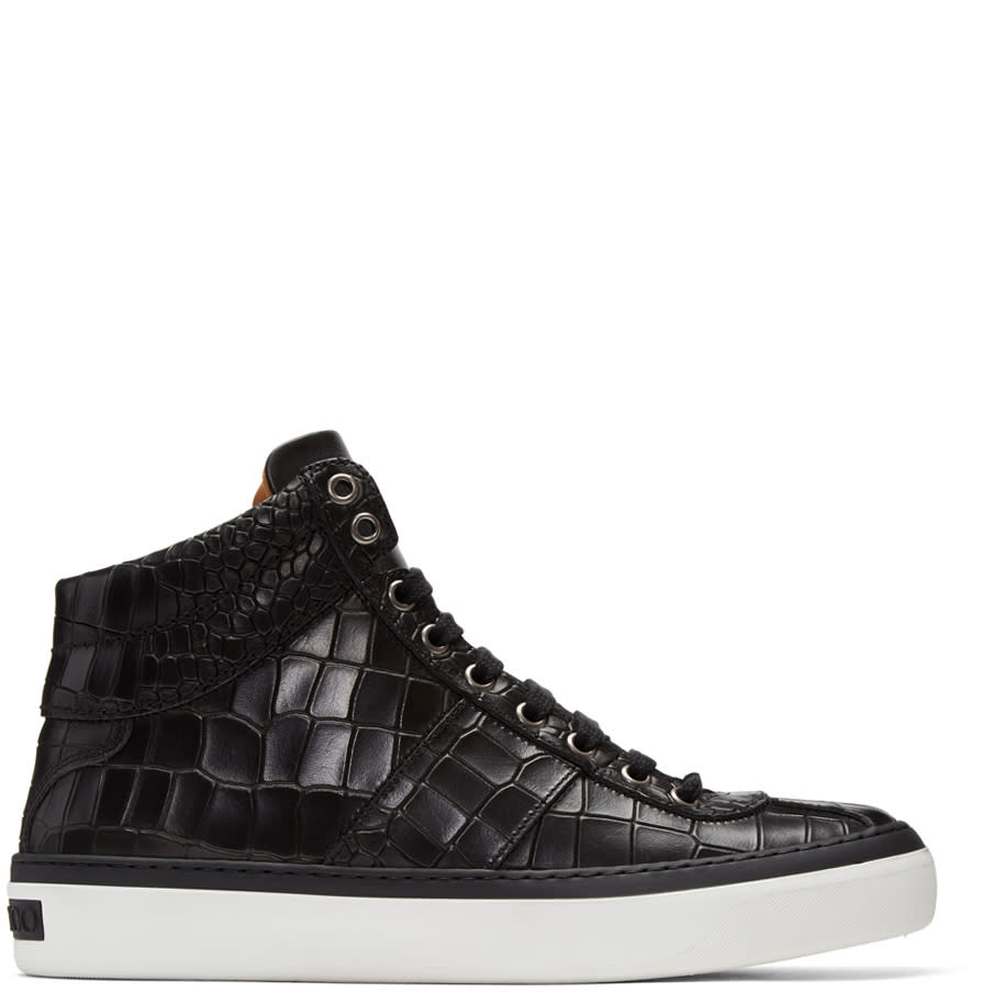 Image of Jimmy Choo Black Croc-embossed Belgravia High-top Sneakers