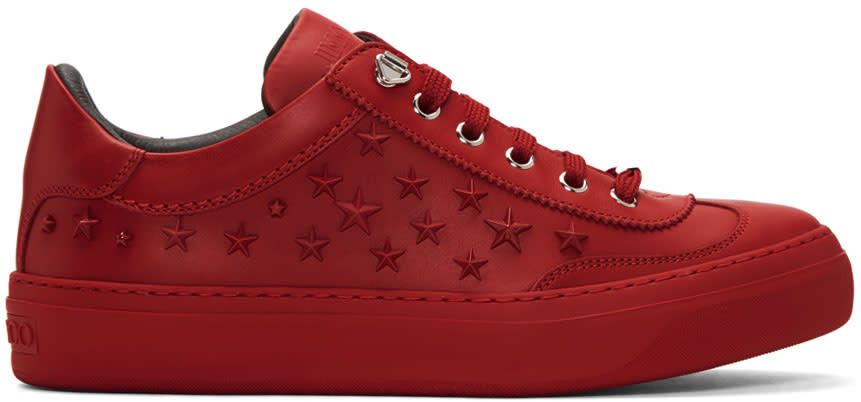 Jimmy Choo Red Stars Ace Sneakers