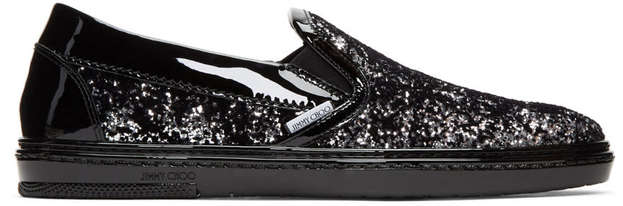 Image of Jimmy Choo Black and Silver Velvet Grove Slip-on Sneakers