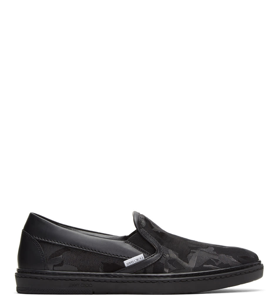 Image of Jimmy Choo Black Camouflage Grove Slip-on Sneakers