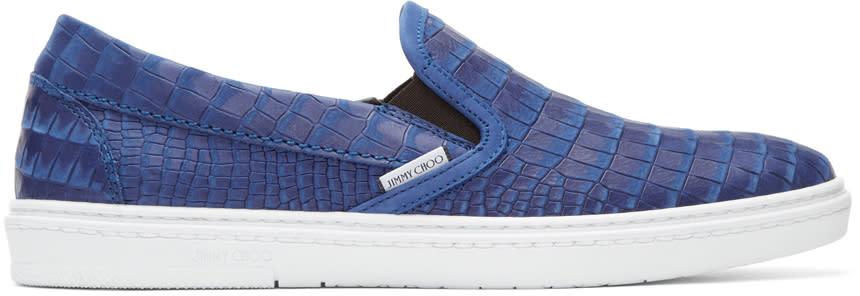 Jimmy Choo Blue Croc-embossed Grove Slip-on Sneakers