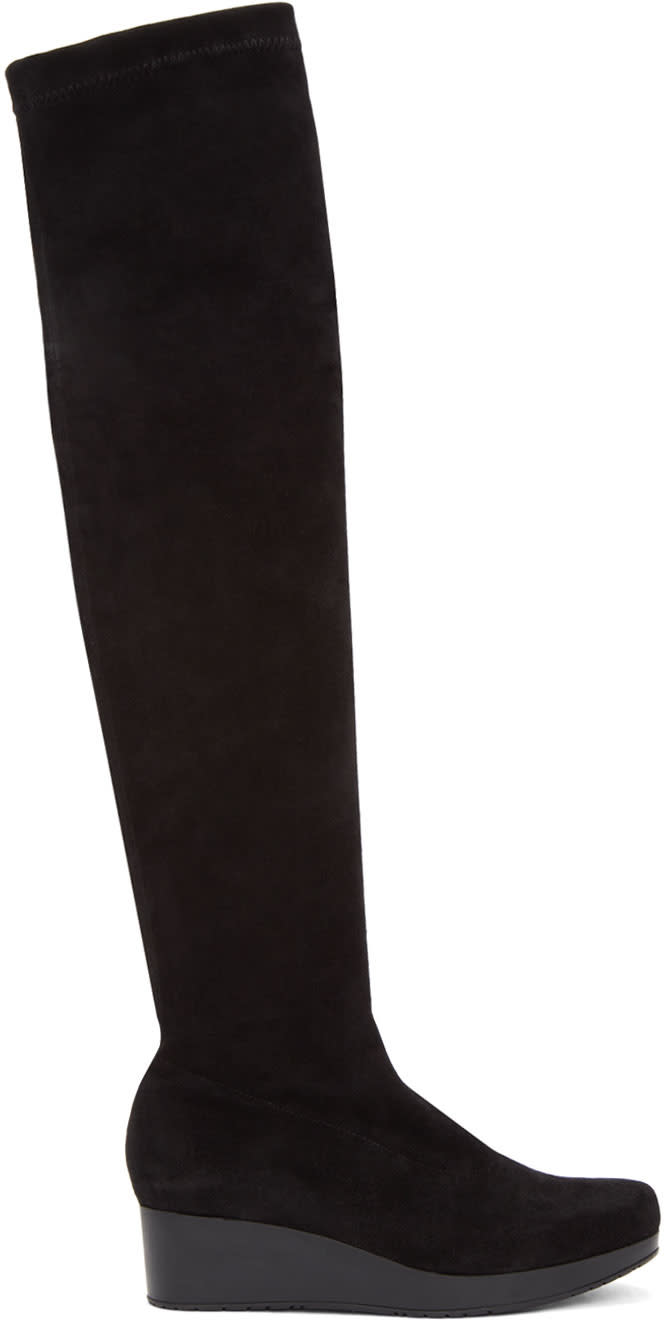 Robert Clergerie Black Suede Natu Over-the-knee Boots