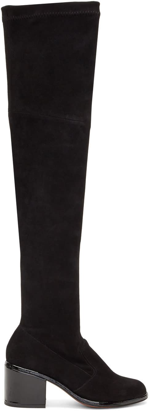 Robert Clergerie Black Suede Mepe Tall Boots