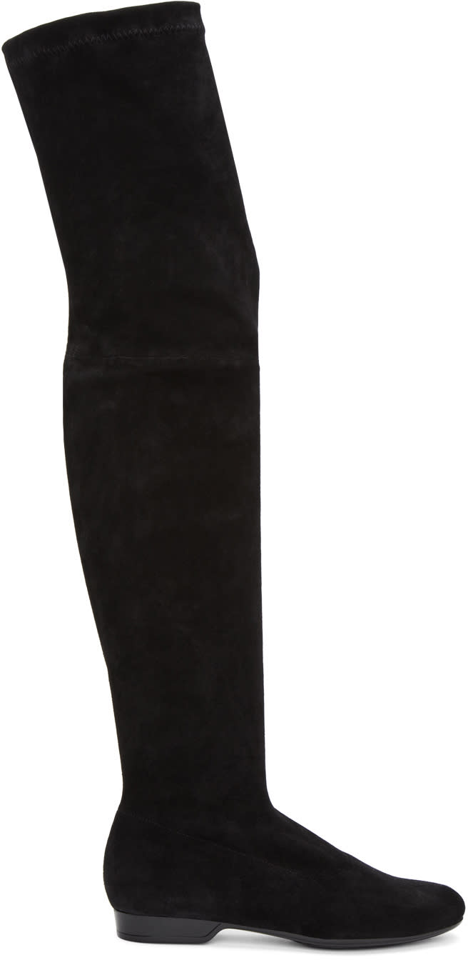 Robert Clergerie Black Suede Feten Over-the-knee Boots