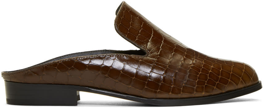 Robert Clergerie Brown Croc-embossed Alice Slip-on Loafers