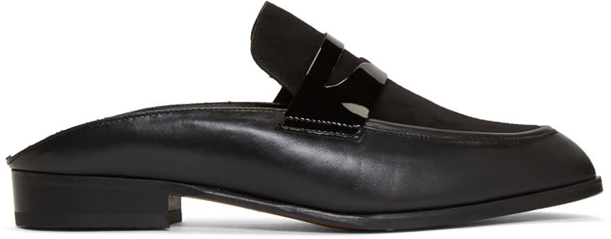Image of Robert Clergerie Black Allan Slip-on Loafers