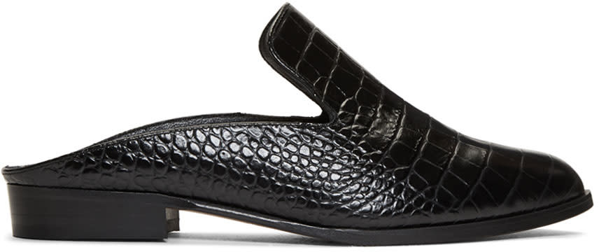 Image of Robert Clergerie Black Croc-embossed Alice Slip-on Loafers