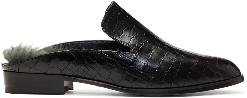 Image of Robert Clergerie Black Croc and Shearling Alice Mules