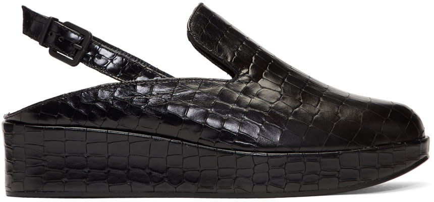 Image of Robert Clergerie Black Croc Nalice Platform Slippers