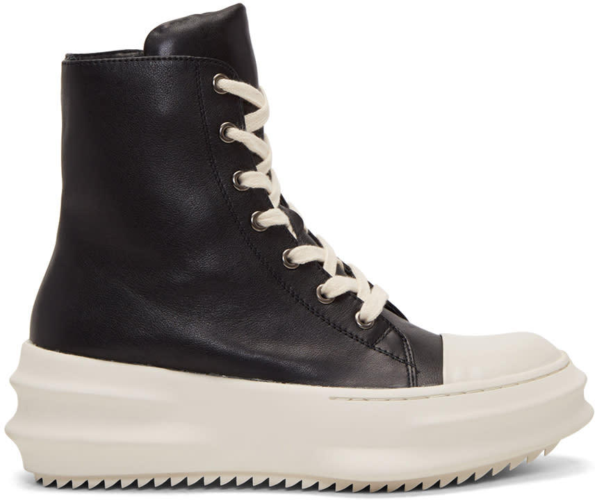 Image of D.gnak By Kang.d Black and Off-white Leather High-top Sneakers