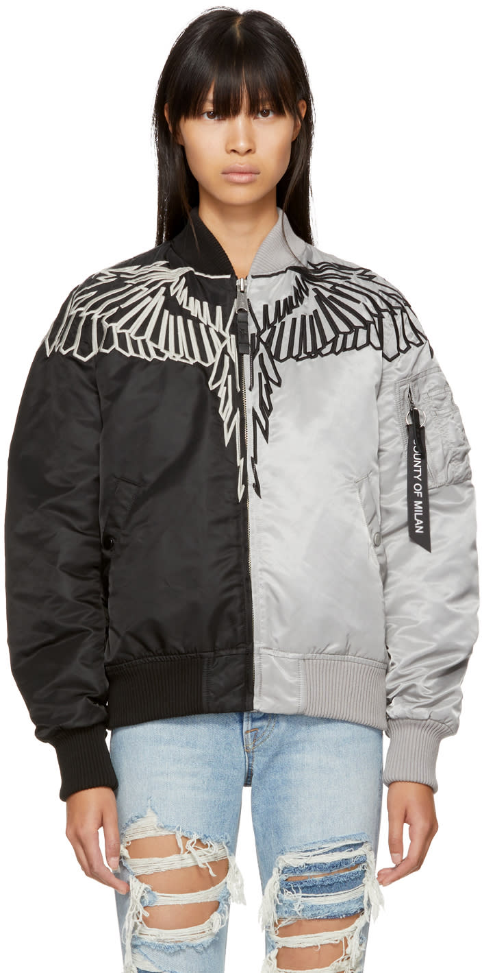Image of Marcelo Burlon County Of Milan Black and Grey Alpha Industries Edition Talca Ma-1 Jacket