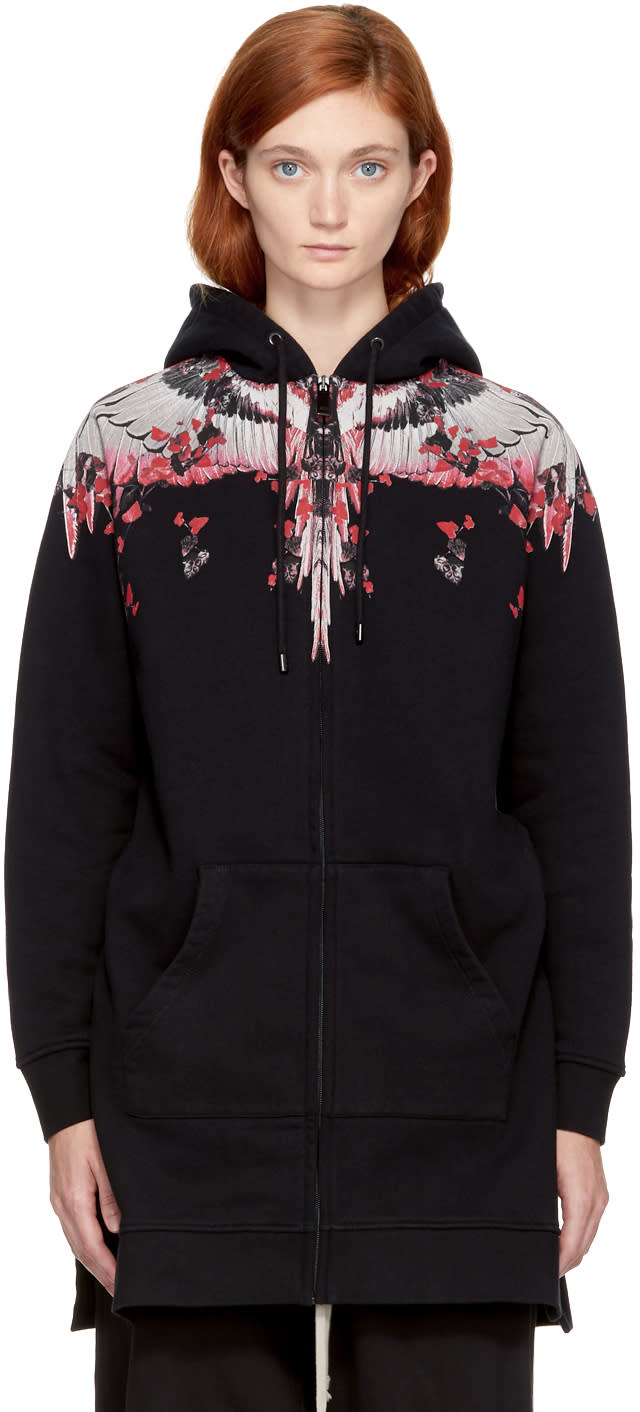 Image of Marcelo Burlon County Of Milan Black and Pink Kolpoke Zip Hoodie