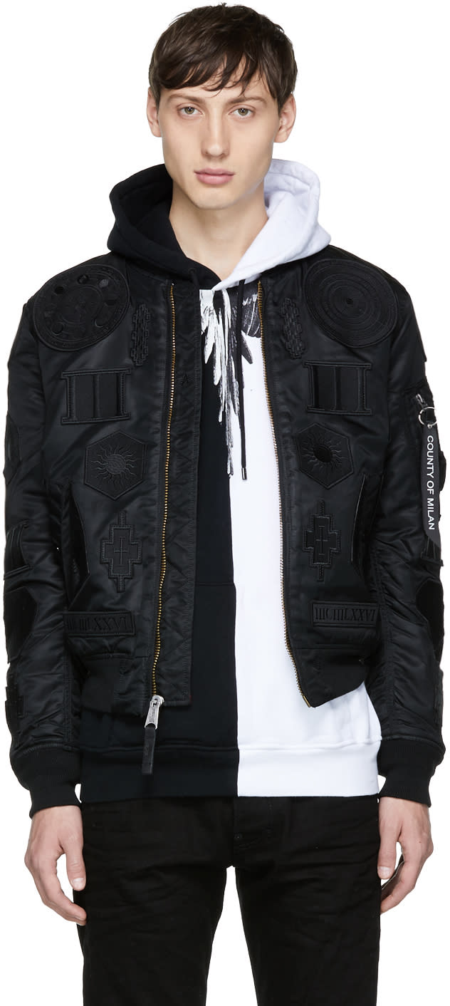Image of Marcelo Burlon County Of Milan Black Alpha Industries Edition Ma-1 Bomber Jacket