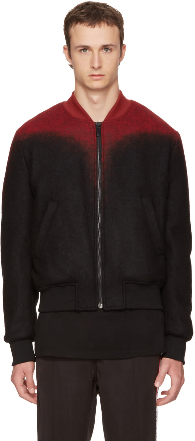 Image of Marcelo Burlon County Of Milan Black and Red Aorjek Bomber Jacket