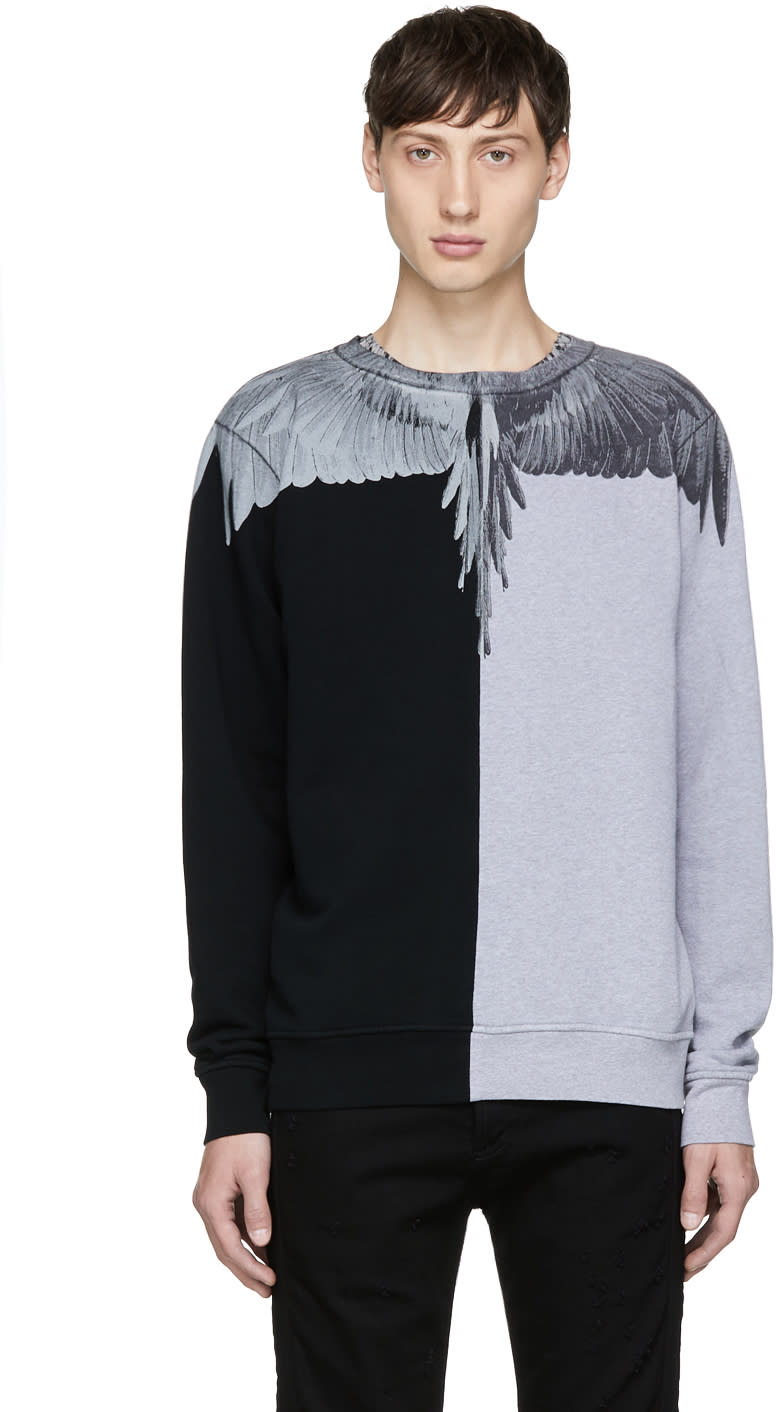 Image of Marcelo Burlon County Of Milan Black and Grey Asher Sweatshirt
