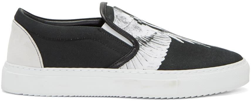 Marcelo Burlon County Of Milan Black and White Aish Slip-on Sneakers