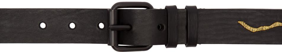 Image of Haider Ackermann Black and Gold Medium Embroidered Belt