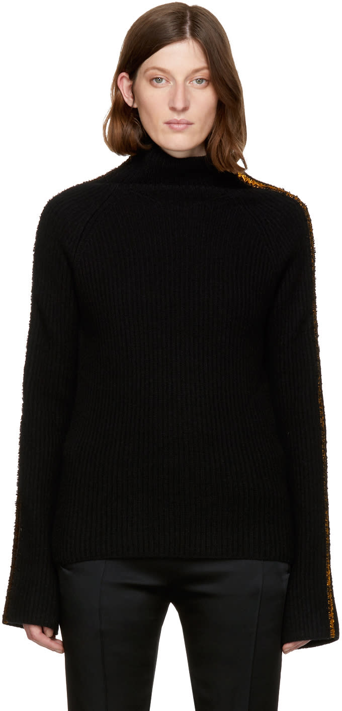 Haider Ackermann Black Embroidered Indivia Turtleneck