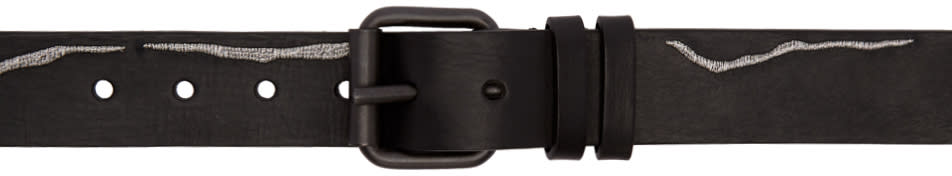 Image of Haider Ackermann Black and Silver Slim Embroidered Belt