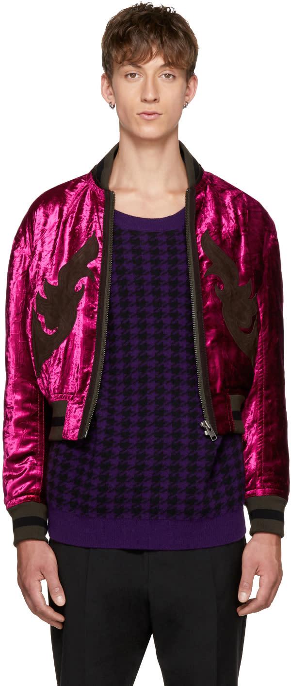 ピンク ベルベット ボンバー ジャケット